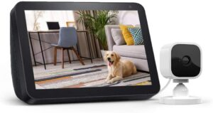 Echo Show 8 Charcoal with Blink Mini Indoor Security Camera